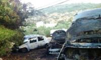 شعارات على جدران المسجد وحرق ممتلكات بقرية ام القطف